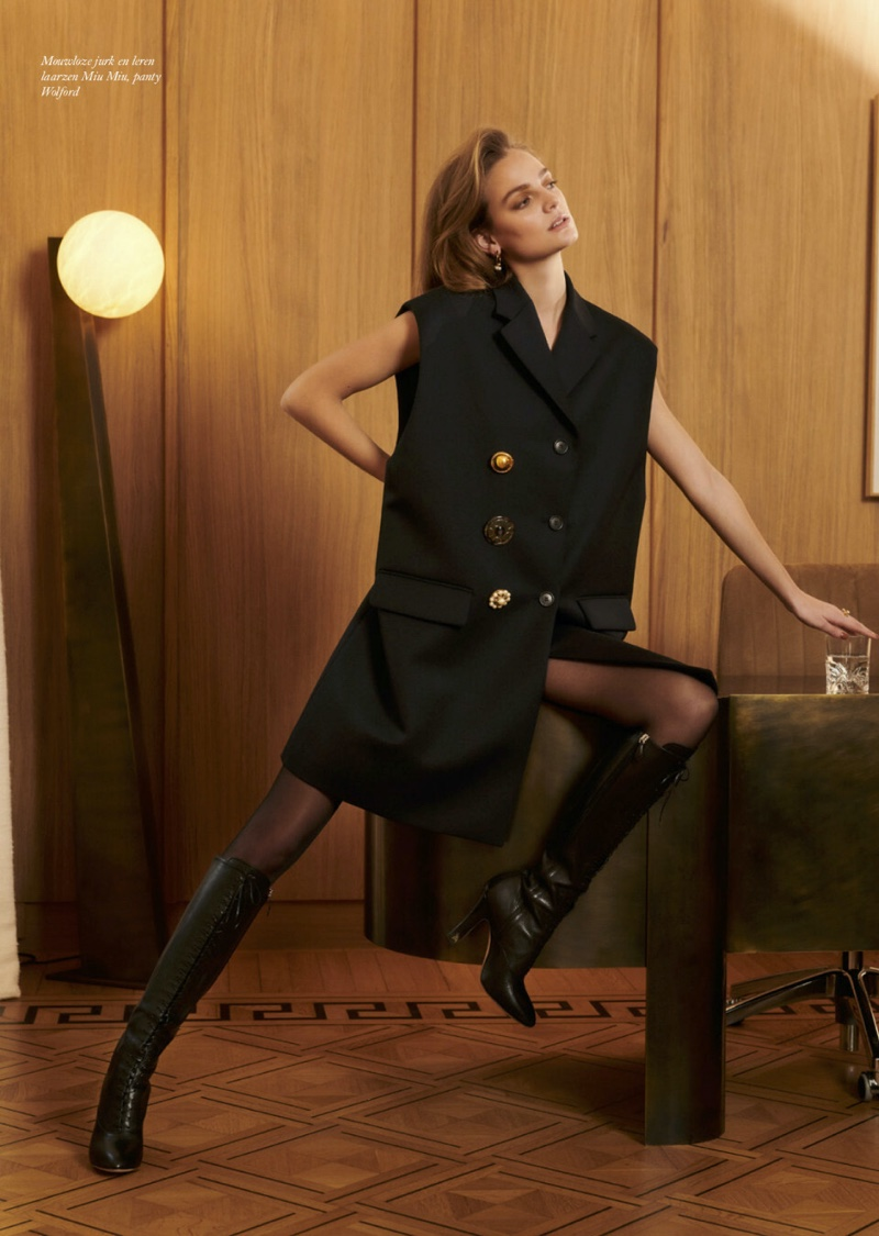 Ine Neefs Models Sophisticated Styles for Harper's Bazaar Netherlands