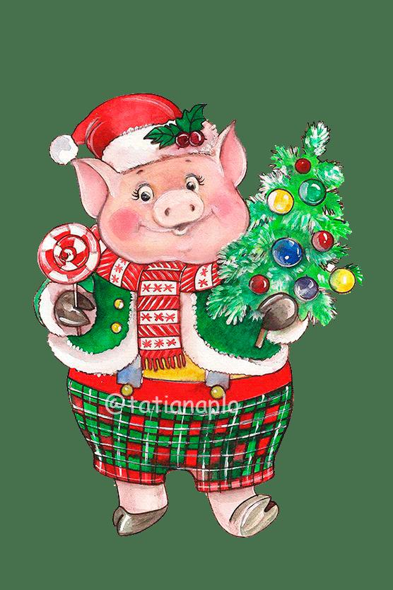 рисунок новогодней свинки открытка рациональный способ