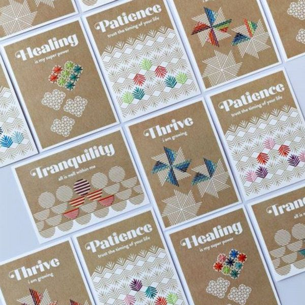 kraft cardstock cards with stitched designs