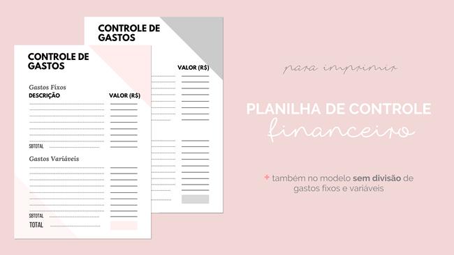 Folha de Controle Financeiro Gratuita para Fazer Download e Imprimir