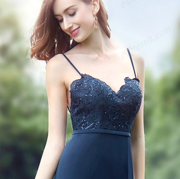 Spaghetti Straps Sweetheart Blue Lace Dress