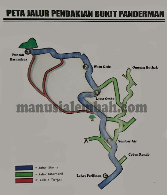 Peta Pendakian Gunung Panderman via Dukuh Toyomerto