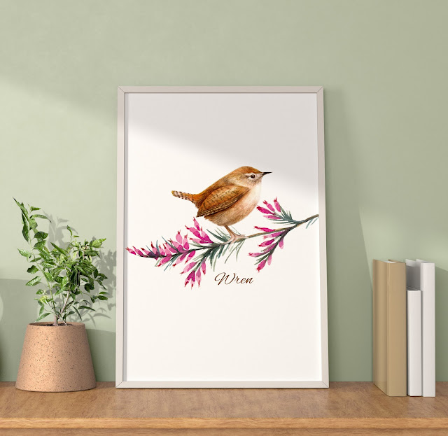 Wren watercolour painting by Amanda Dilworth