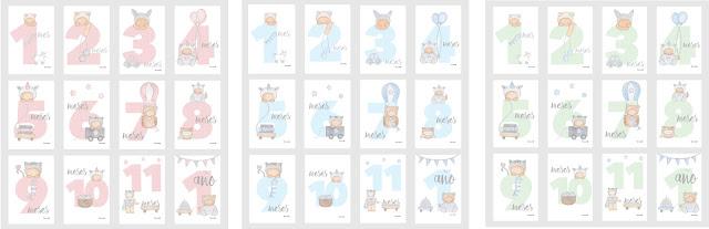 láminas infantiles bebés y niños, abecedarios para enmarcar -TARJETAS BEBÉS 12 MESES
