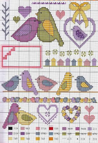 schema punto croce  per lenzuola e copertine
