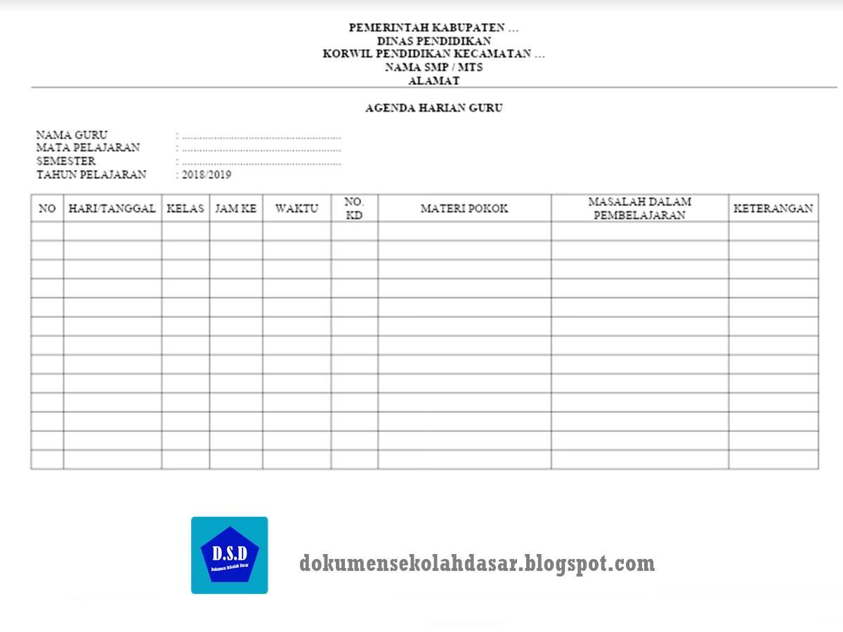 contoh format agenda harian guru mata pelajaran smp kurikulum 2013