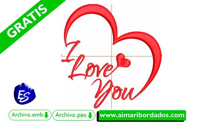 Bordado I love You Corazón para bordar a máquina