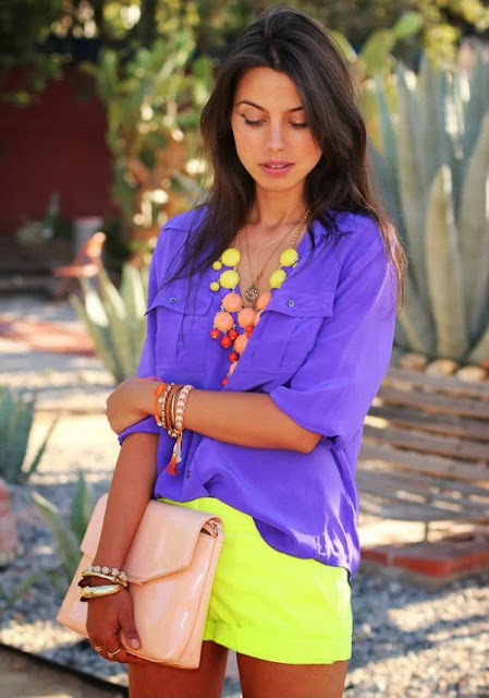 street style: super neon color combination short and necklace