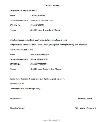 Contoh Surat Kuasa Pengambilan Gaji (via: seruni.id)