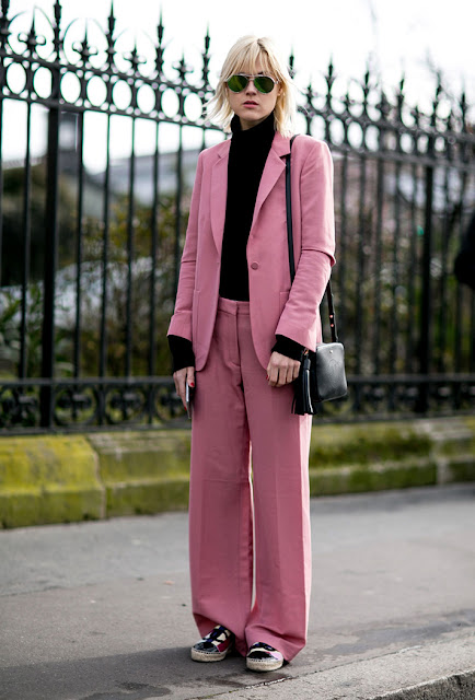 blush color trend, suit and sneakers, women suit, fall 2016, street style, spring 2016, trends, fashion week, NYFW, PFW, LFW, new york fashion week, paris fashion week, london fashion week