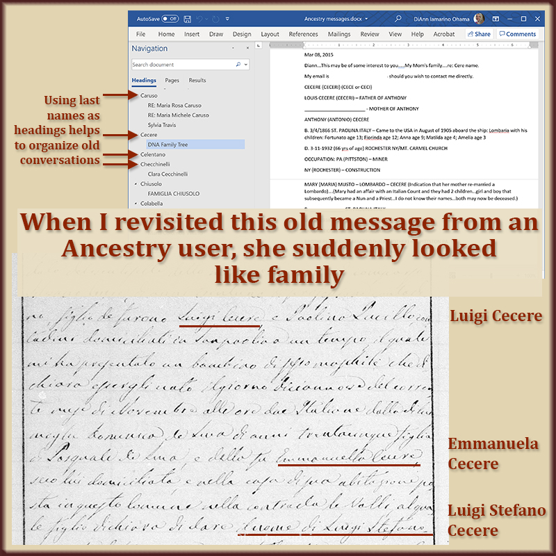 You're further along in your family tree today. It's time to revisit the hints in those old potential-cousin messages.