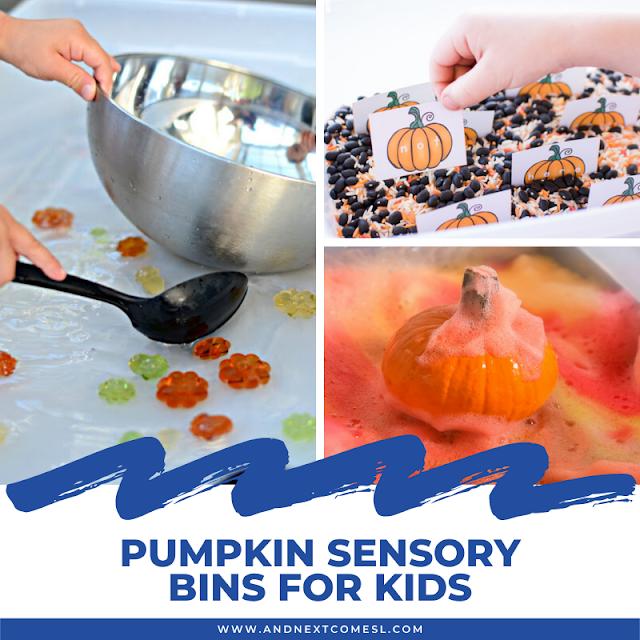 Pumpkin sensory bins for kids