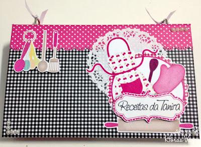 livro de receitas fichário personalizado artesanal cozinha preto branco e pink caderno de culinária scrap scrapbook scrapbooking feminino delicado