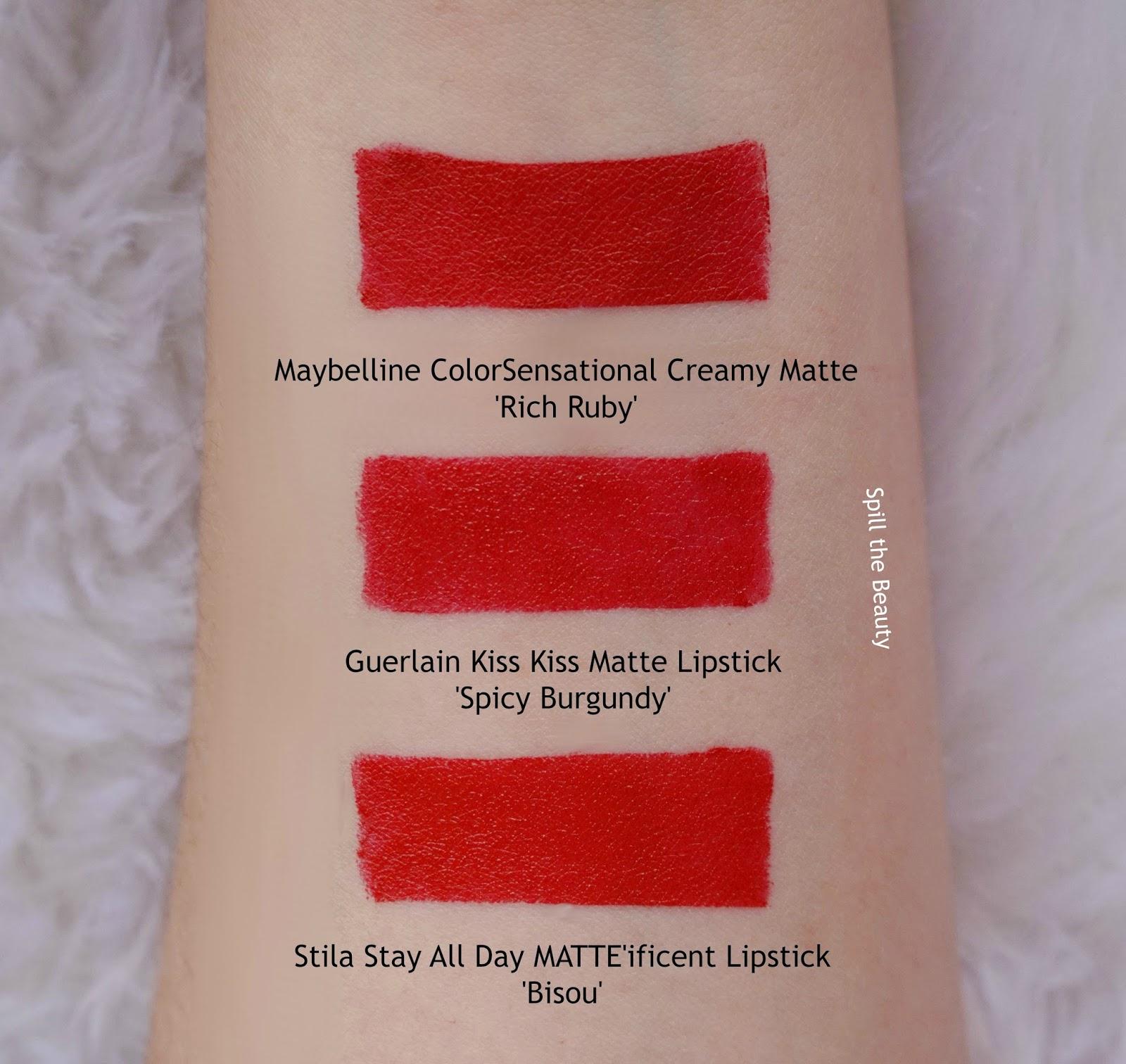 guerlain kiss kiss matte lipstick spicy burgundy swatches comparison dupe stila maybelline