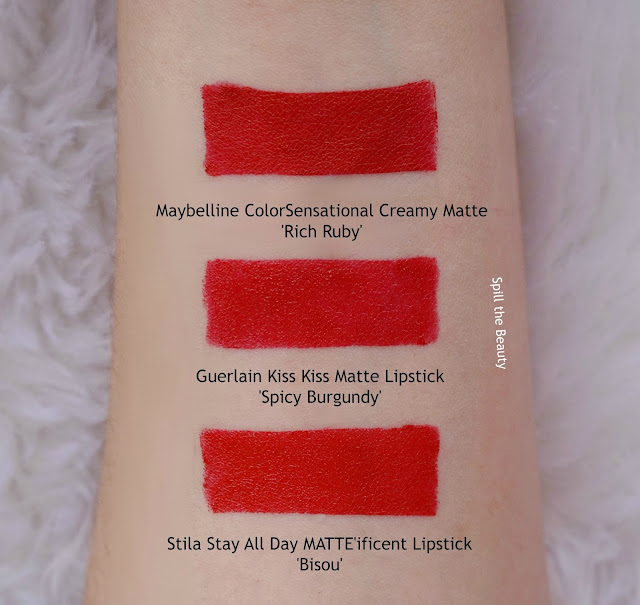 guerlain kiss kiss matte lipstick spicy burgundy swatches comparison dupe stila maybelline