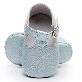 d4051a0d9133 HONGTEYA Baby Girls Pure T-Strap Moccasins - Newborn First Walker Mary Jane  PU Soft Soled Shoes (Size 0-6 Months US 3.5 4.33   See Size Chart