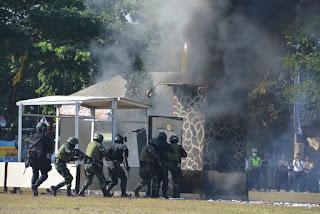 Pasukan Pemukul Korem 162/WB Meriahkan HUT Ke 73 Tahun 2019 Polri