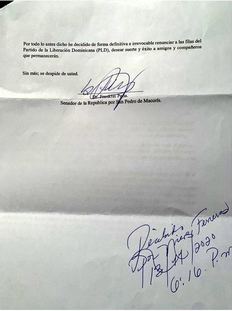 Renuncia PLD Franklin Peña
