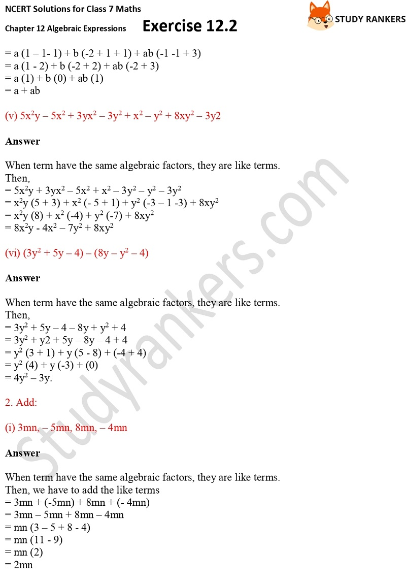 NCERT Solutions for Class 7 Maths Ch 12 Algebraic Expressions Exercise 12.2 2