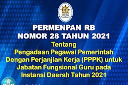 Permenpan RB Nomor 28 Tahun 2021 Tentang Pengadaan Pegawai Pemerintah Dengan Perjanjian Kerja untuk Jabatan Fungsional Guru pada Instansi Daerah Tahun 2021