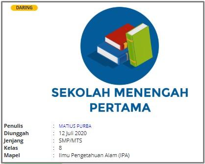 RPP 1 Lembar Daring IPA Kelas VIII SMP