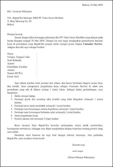 Contoh Surat Lamaran Pekerjaan Untuk Customer Service (Fresh Graduate Dan Experienced)