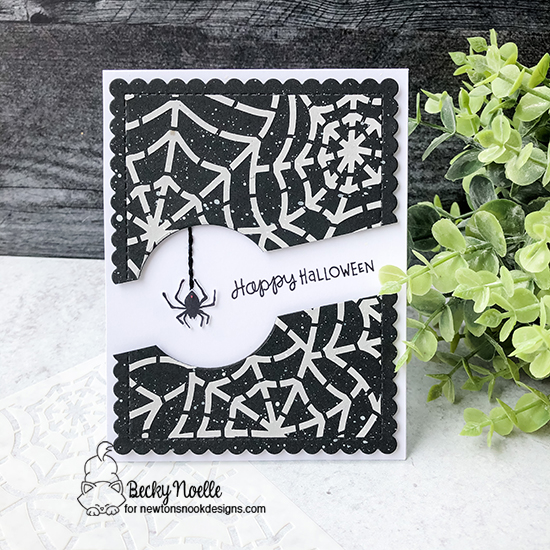 Happy Halloween by Becky features Spiderweb, Batty Newton, Frames & Flags, Spooky Street, and Circle Frames by Newton's Nook Designs; #newtonsnook