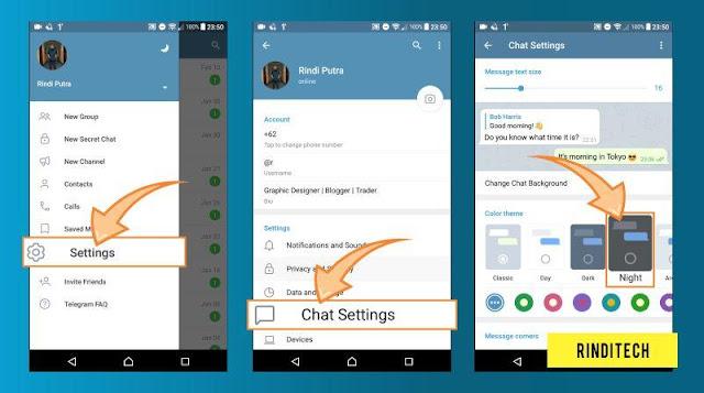 Cara Mudah Dark Mode di Telegram
