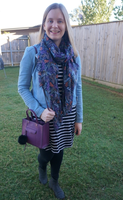 denim jacket bright scarf purple bag striped tee dress leggings ankle boots | awayfromblue