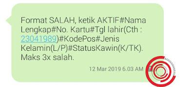 Aktivasi Ponta Alfamart lewat SMS format salah