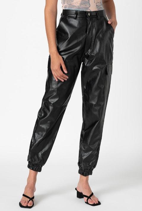 Missguided Pantaloni de piele ecologica cu talie inalta