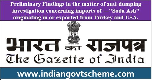 Preliminary Findings in the matter of anti-dumping investigation