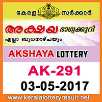 AKSHAYA Lottery Result AK-291 Kerala Lottery Result 03-05-2017