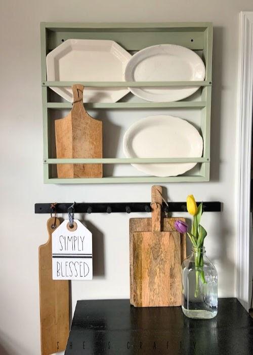 Dowel Peg Rack - hanging storage in farmhouse kitchen