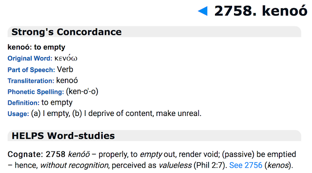 Strong's Concordance? kenoó: to empty