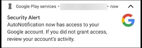 تنبيه أمان من Google.