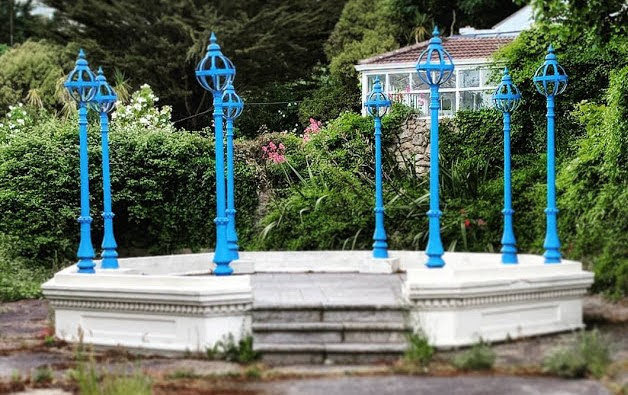Bray to Greystones and More Dublin Day Trip: Broken blue gazebo in Sorrento Park near Dalkey Ireland