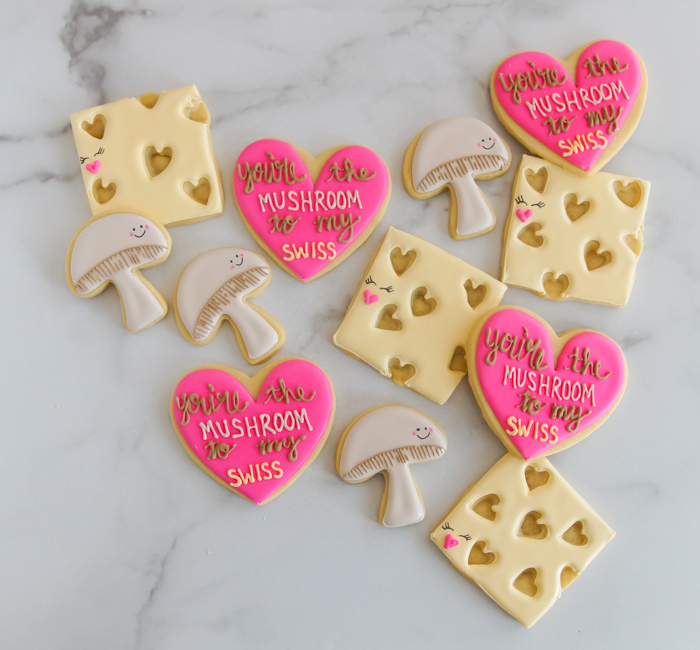 You're the Mushroom to my Swiss Valentine Cookies, cookie decorating tutorial