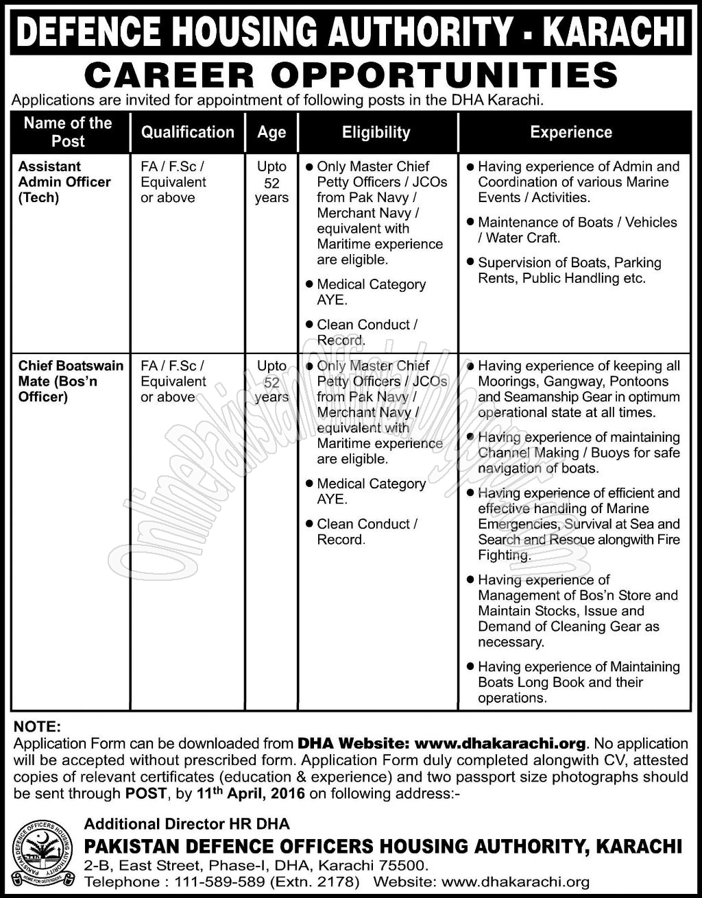 DHA Defence Housing Authority Karachi Jobs 2016