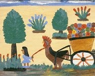 Clementine Hunter - rooster wagon.