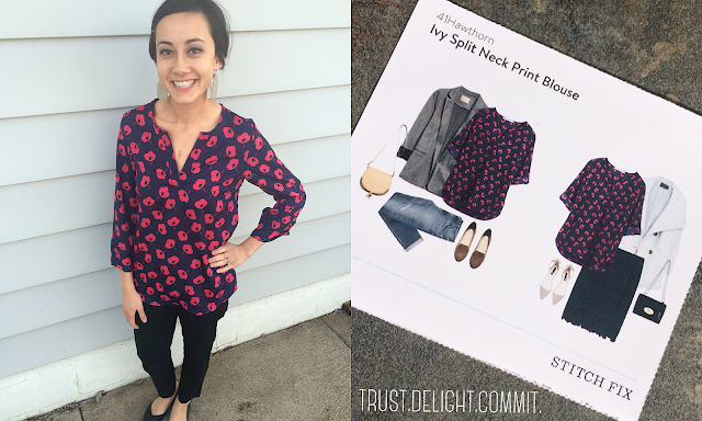 February 2016 Stitch Fix Review - 41 Hawthorn Ivy Split Neck Print Blouse