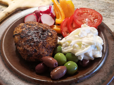 Turkey burger with all the trimmings and Sweet Onion Salad