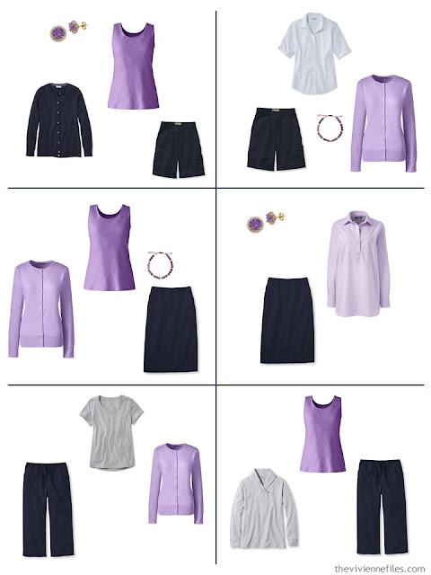 six navy outfits using lavender as an accent