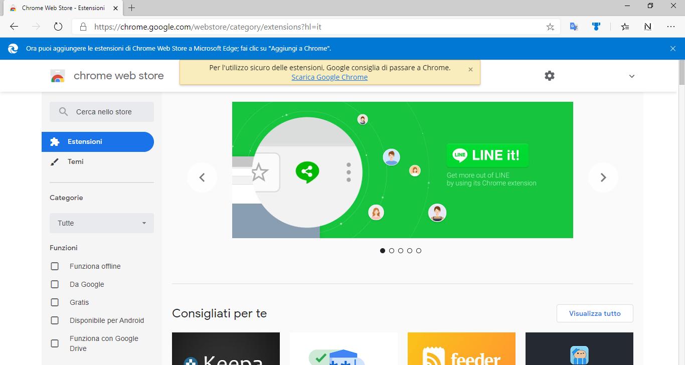 Installare estensioni di Chrome in Microsoft Edge non è sicuro (secondo Google)