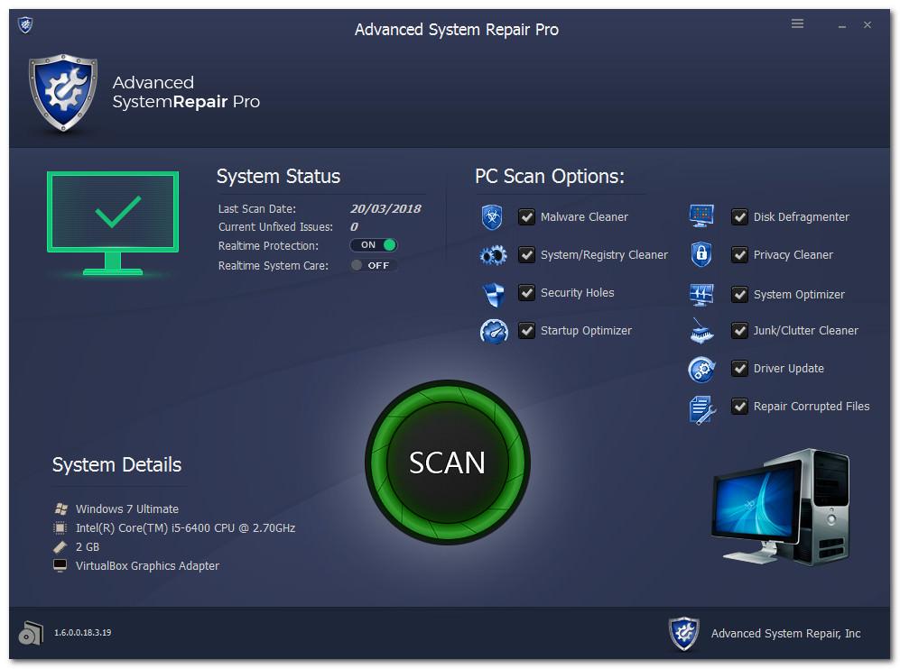 البرنامج الاشهر لصيانه الويندوز وتسريعه ومسح الملفات الضارة Advanced System Repair Pro