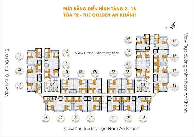 Mặt bằng tòa T2 - The Golden An Khánh