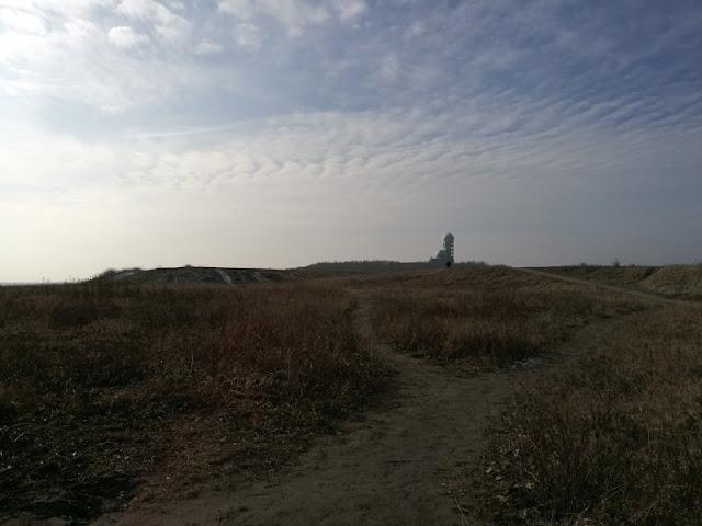 Blick über eine Hügelkuppe auf den Teufelsberg