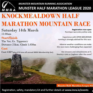 Sun 1st (11am)... IMRA Bweeng 9.5km trail race... €7 ...pre-entry... 2020 IMRA membership (€10) required...