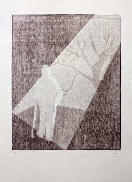 Camina, xilografía realizada por Indra Ruiz - Yoviendo Árboles
