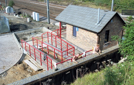 Photograph of Welham Green station ticket office being built in the summer of 1986. Image by Mike Allen